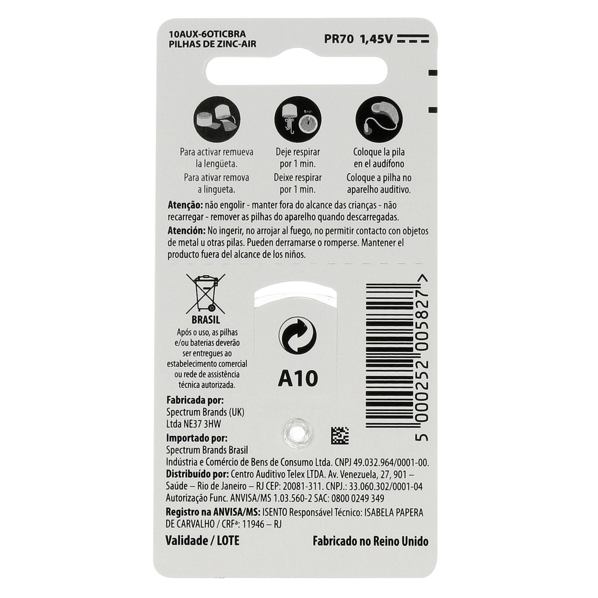 OTICON 10 / PR70 - 1 Cartela - 6 Baterias para Aparelho Auditivo  - SONORA