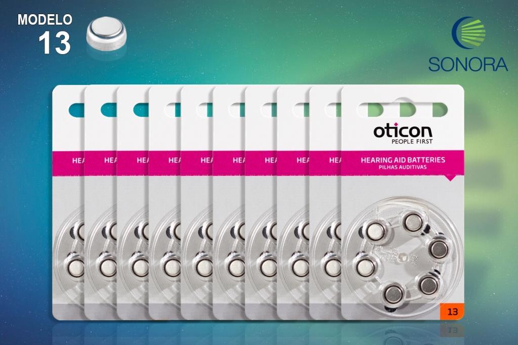 OTICON 13 / PR48 - 10 Cartelas - 60 Baterias para Aparelho Auditivo  - SONORA