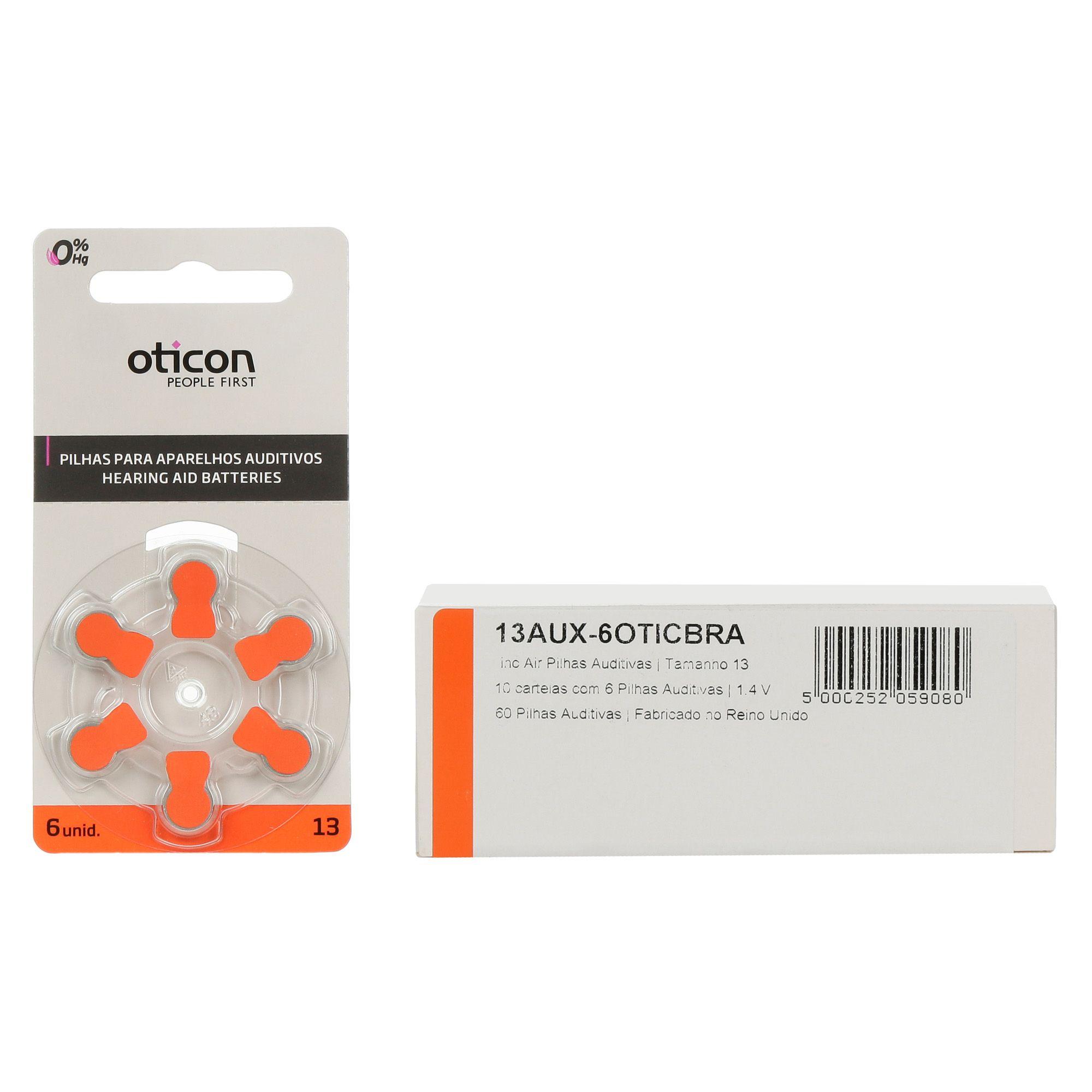 OTICON 13 / PR48 - 10 Cartelas - 60 Baterias para Aparelho Auditivo
