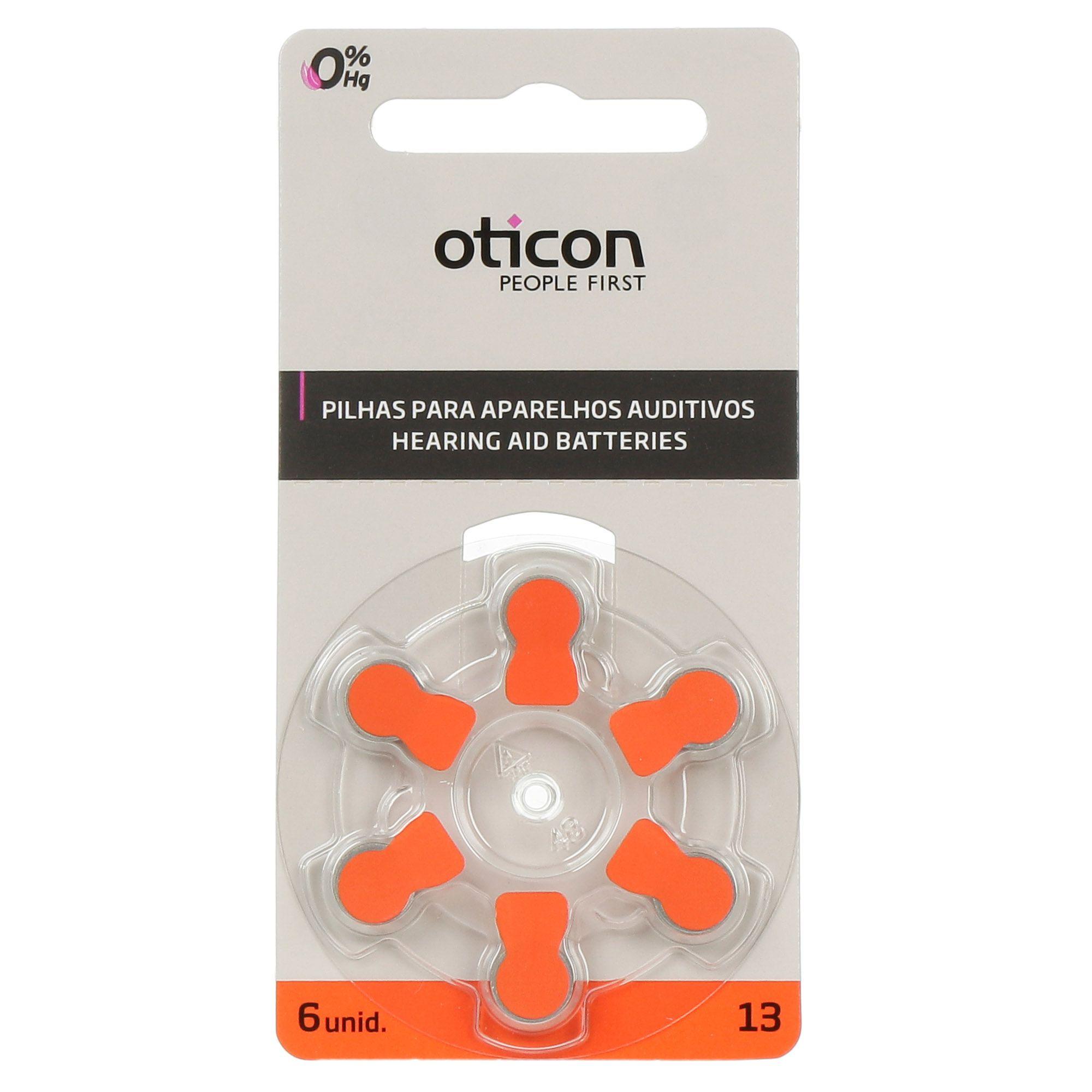 OTICON 13 / PR48 - 1 Cartela - 6 Baterias para Aparelho Auditivo