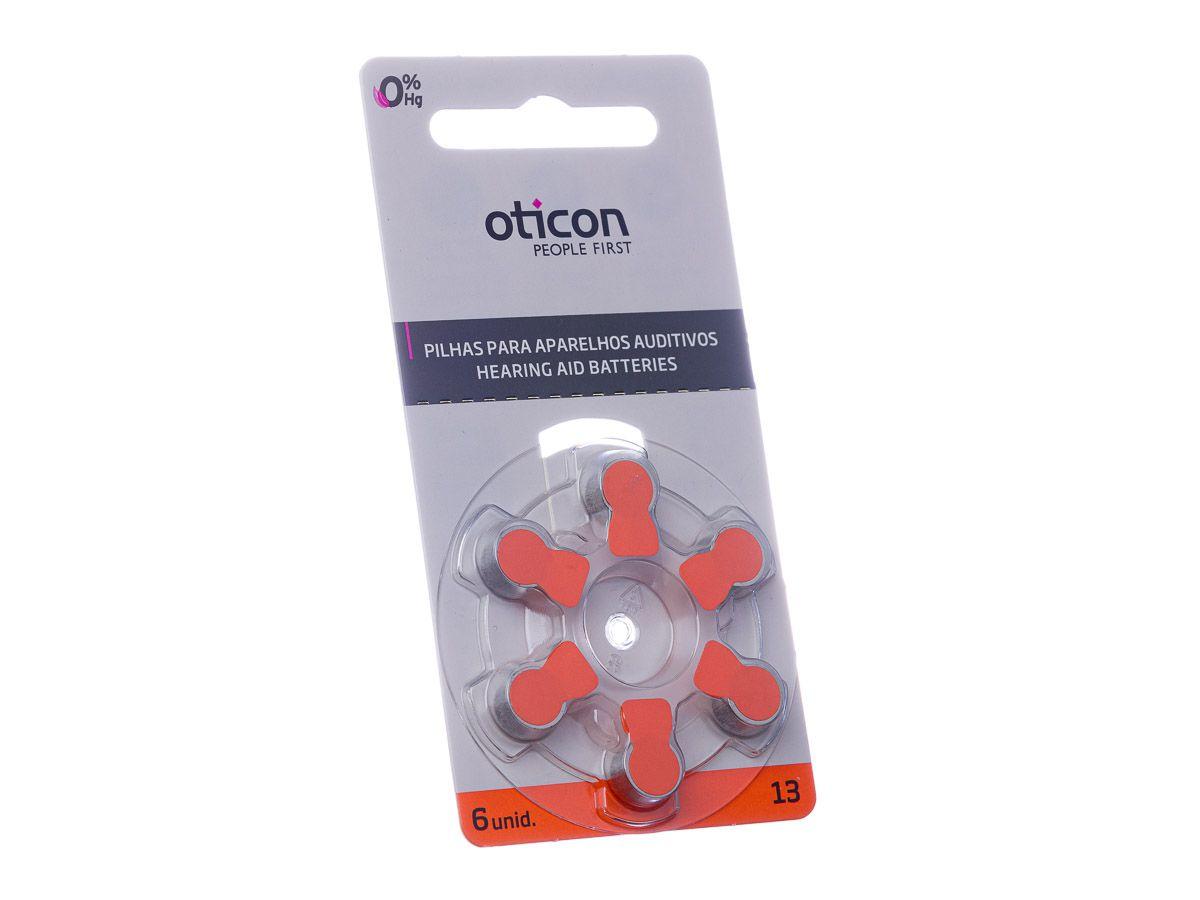 OTICON 13 / PR48 - 1 Cartela - 6 Baterias para Aparelho Auditivo  - SONORA