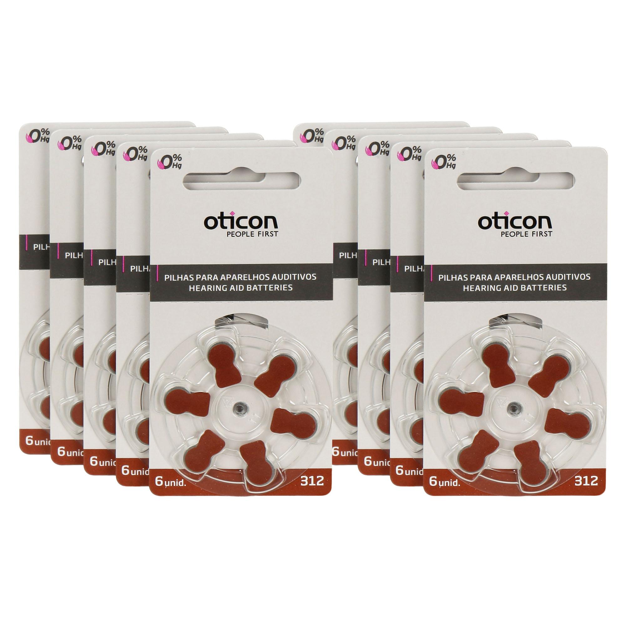OTICON 312 / PR41 - 10 Cartelas - 60 Baterias para Aparelho Auditivo  - SONORA