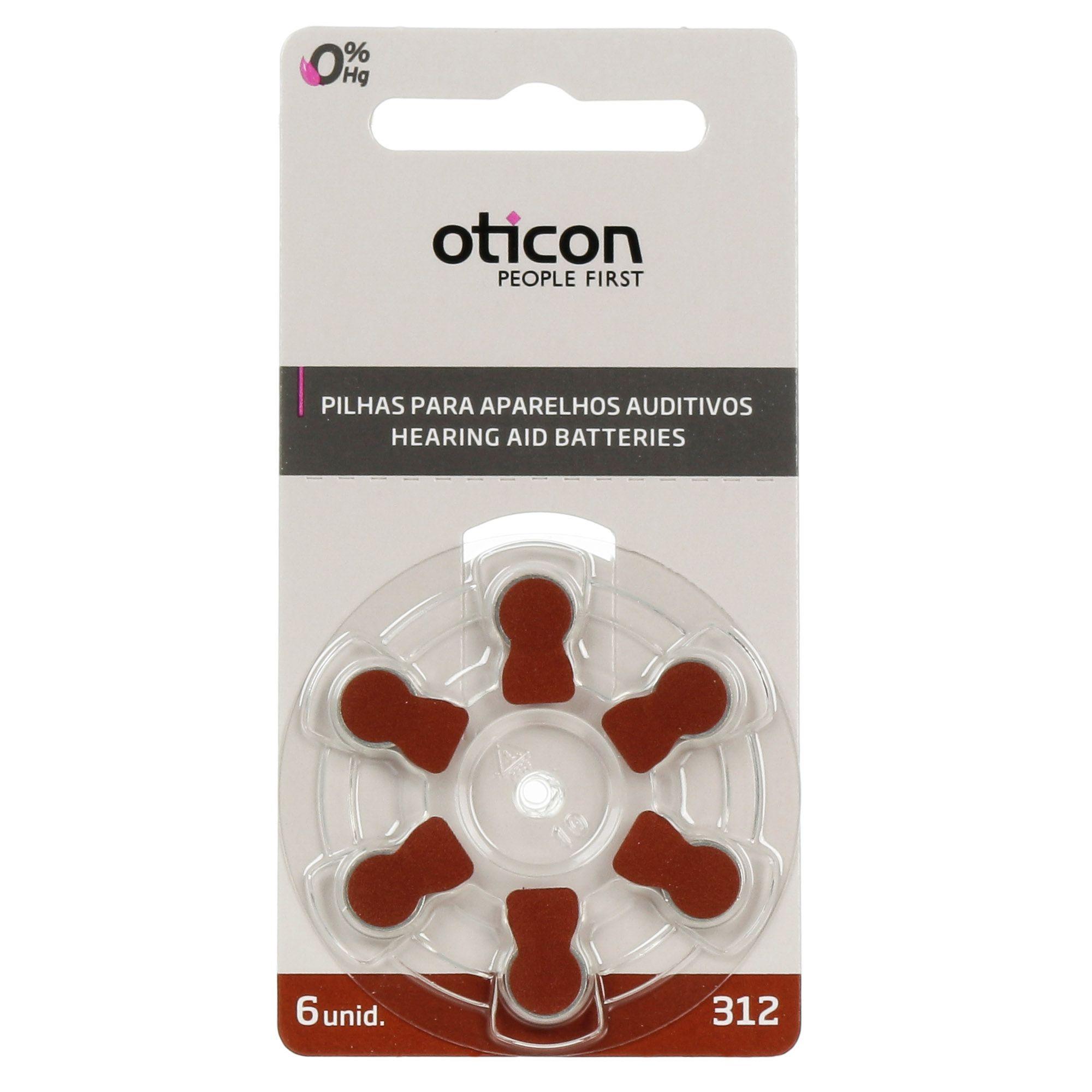 OTICON 312 / PR41 - 1 Cartela - 6 Baterias para Aparelho Auditivo