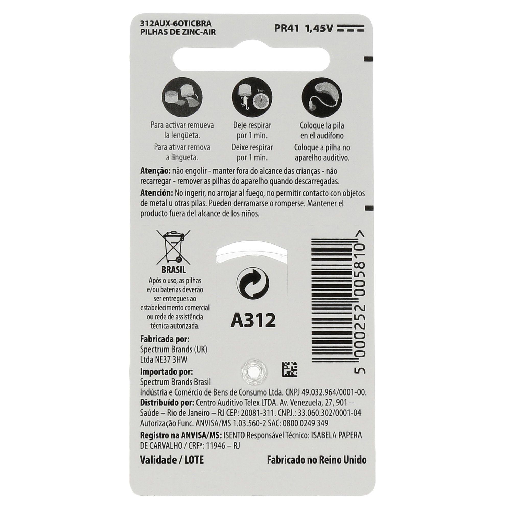 OTICON 312 / PR41 - 1 Cartela - 6 Baterias para Aparelho Auditivo  - SONORA