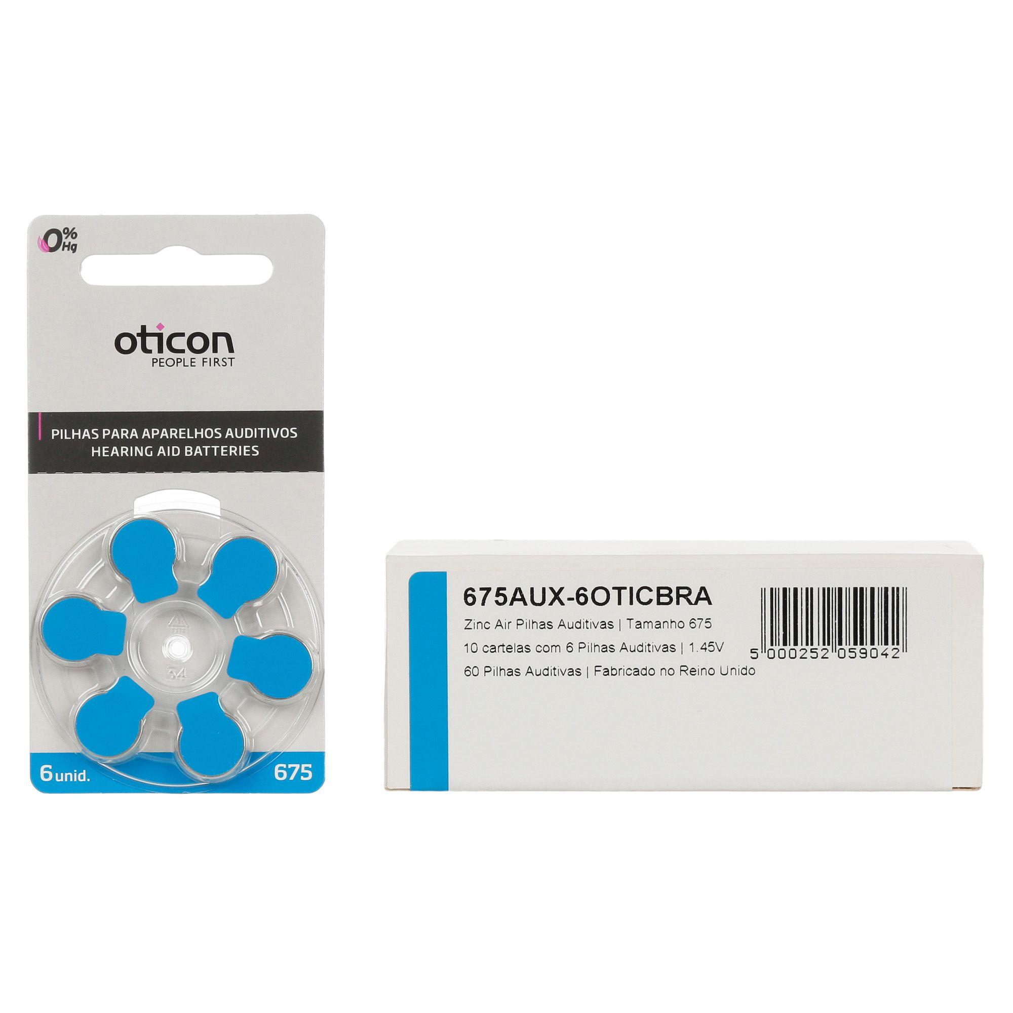 OTICON 675 / PR44 - 10 Cartelas - 60 Baterias para Aparelho Auditivo