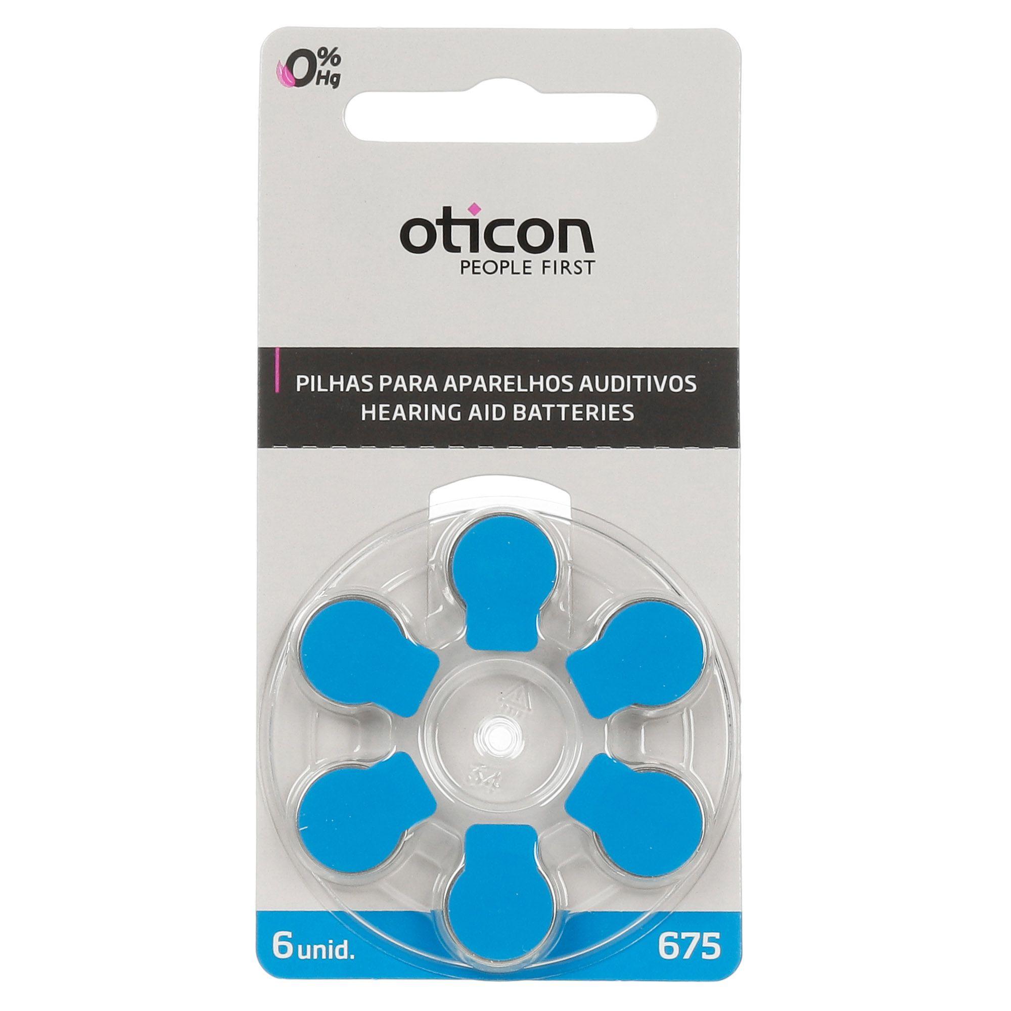 OTICON 675 / PR44 - 1 Cartela - 6 Baterias para Aparelho Auditivo