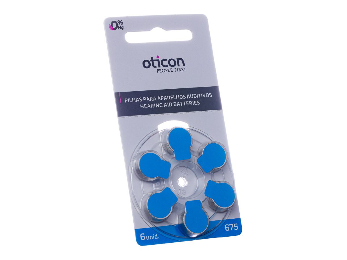 OTICON 675 / PR44 - 1 Cartela - 6 Baterias para Aparelho Auditivo  - SONORA
