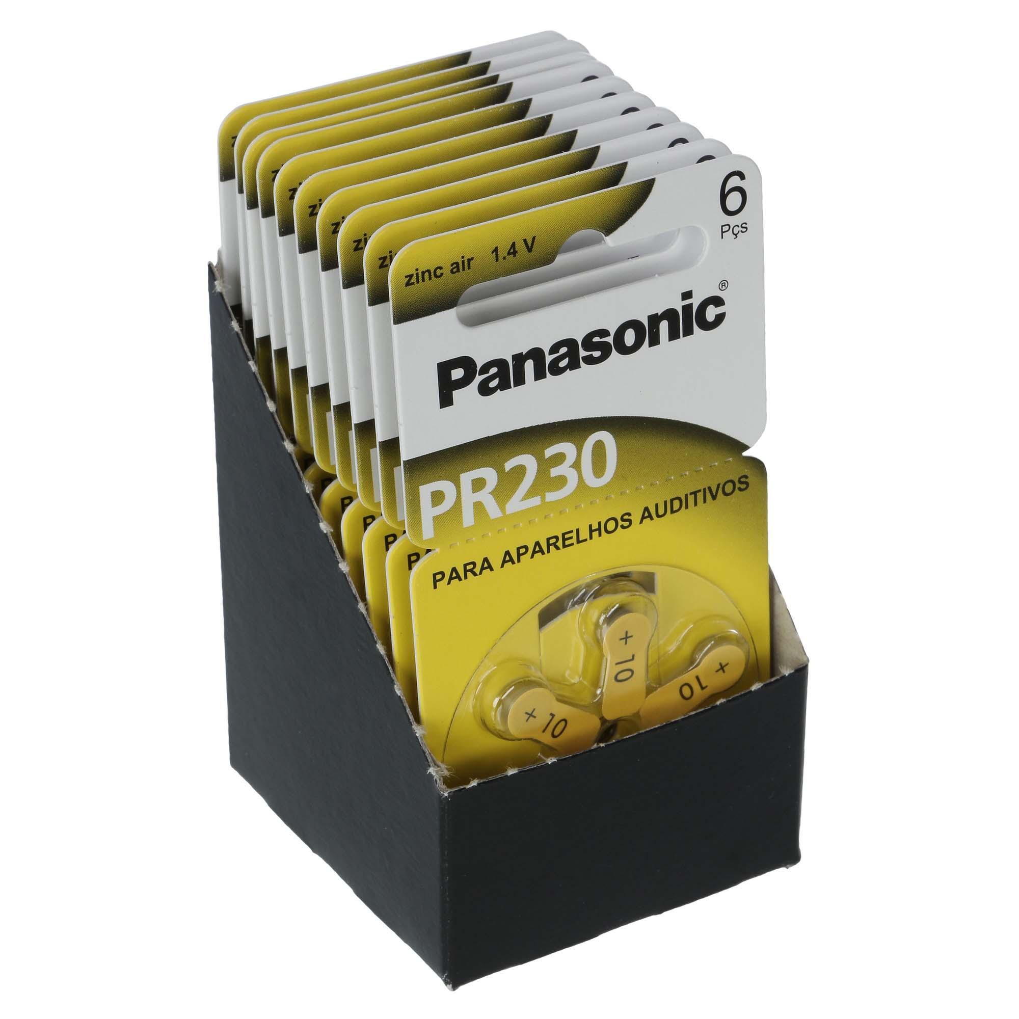 Panasonic PR10 / PR230  - 10 Cartelas - 60 Baterias para Aparelho Auditivo  - SONORA
