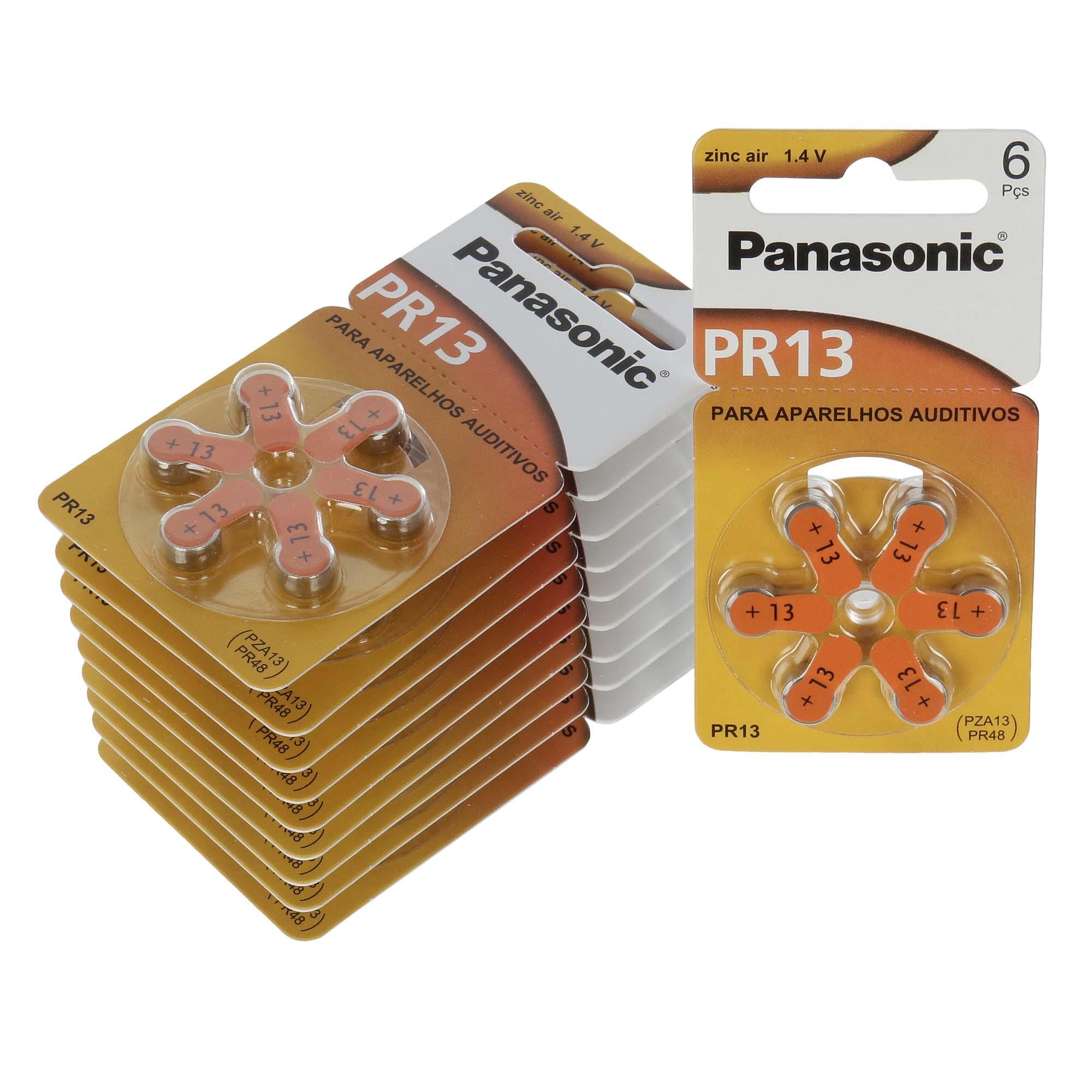 Panasonic PR13 / PR48  - 10 Cartelas - 60 Baterias para Aparelho Auditivo  - SONORA