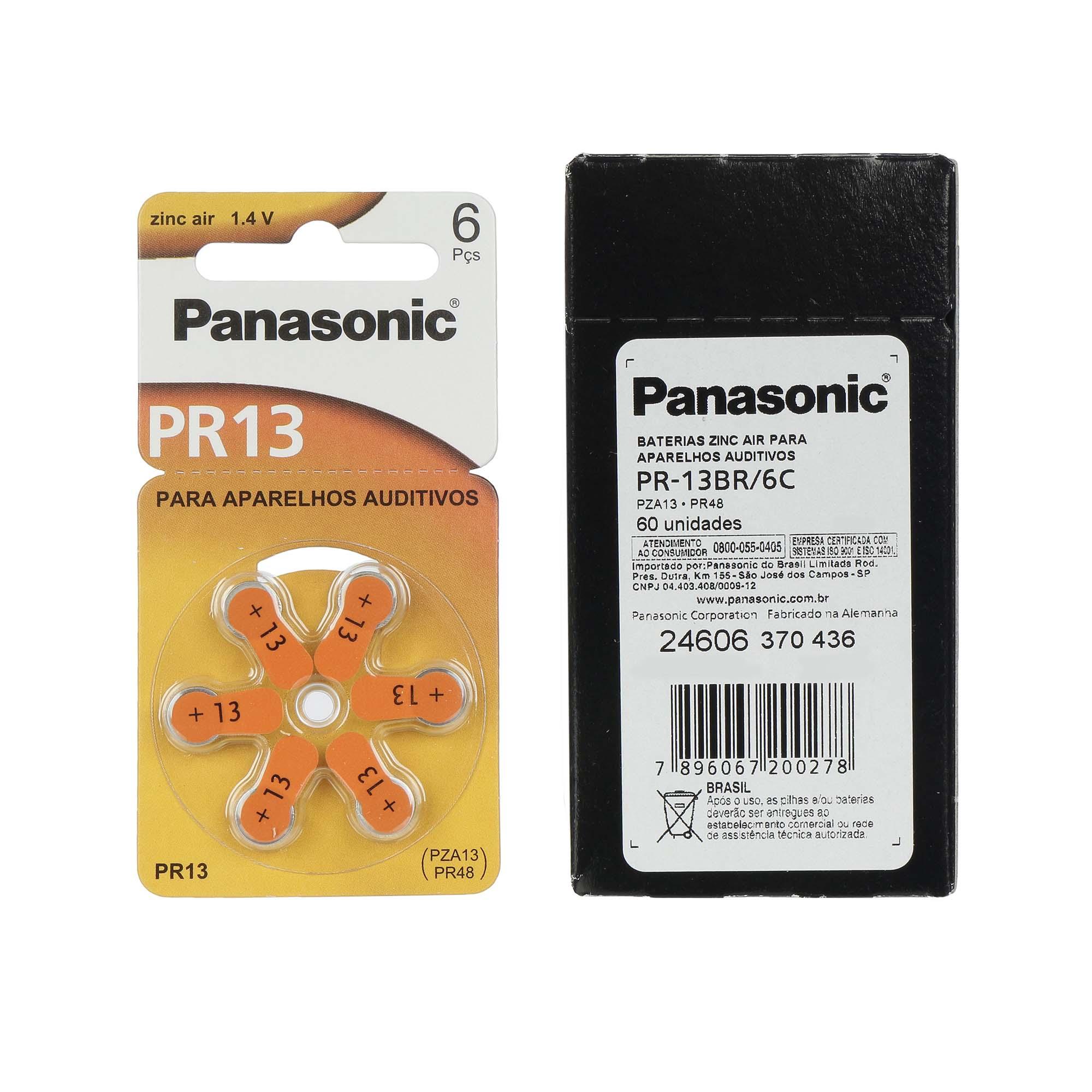 Panasonic PR13 / PR48  - 10 Cartelas - 60 Baterias para Aparelho Auditivo