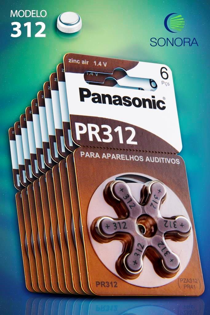 Panasonic PR312 / PR41 - 10 Cartelas - 60 Baterias para Aparelho Auditivo