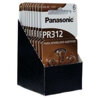 Panasonic PR312 / PR41 - 10 Cartelas - 60 Baterias para Aparelho Auditivo  - SONORA