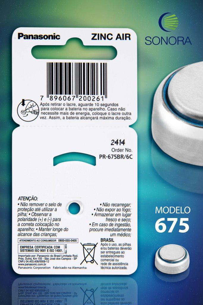 Panasonic PR675 / PR44  - 10 Cartelas - 60 Baterias para Aparelho Auditivo  - SONORA