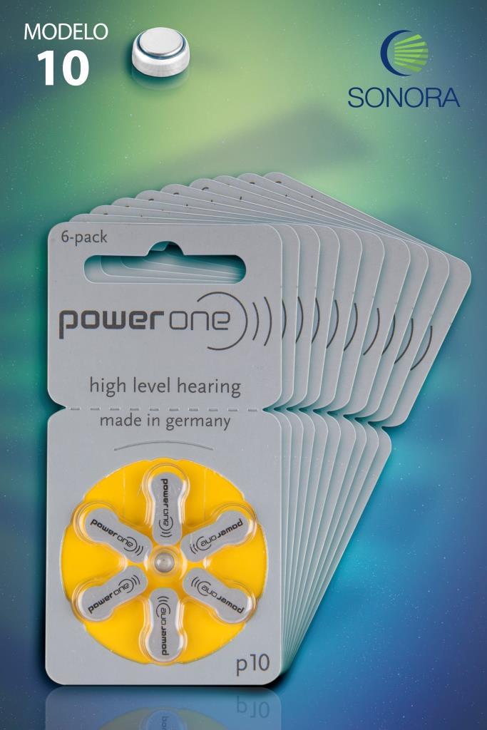 PowerOne P10 / PR70  - 10 Cartelas - 60 Baterias para Aparelho Auditivo  - SONORA