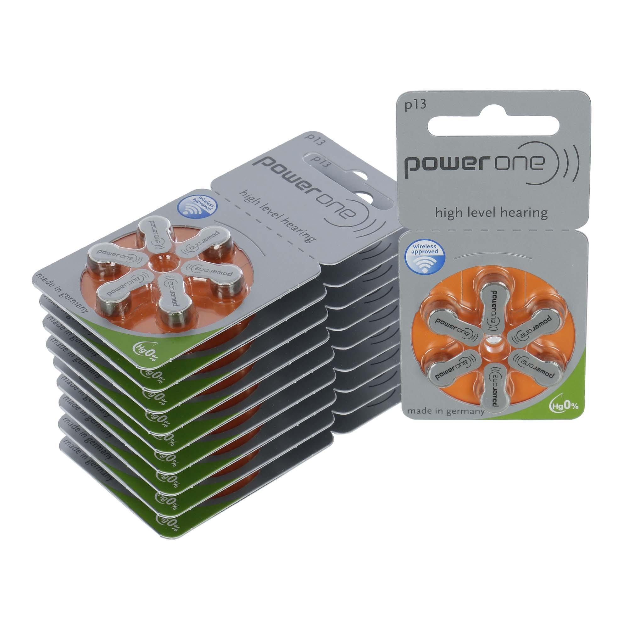 PowerOne P13 / PR48  - 10 Cartelas - 60 Baterias para Aparelho Auditivo  - SONORA