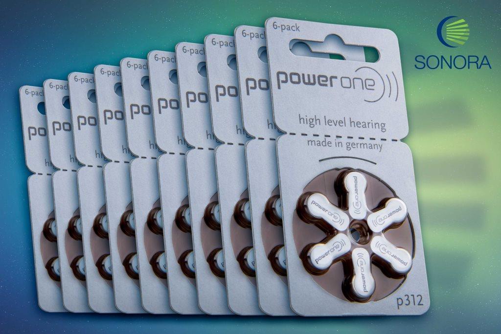 PowerOne P312 / PR41  - 10 Cartelas - 60 Baterias para Aparelho Auditivo  - SONORA