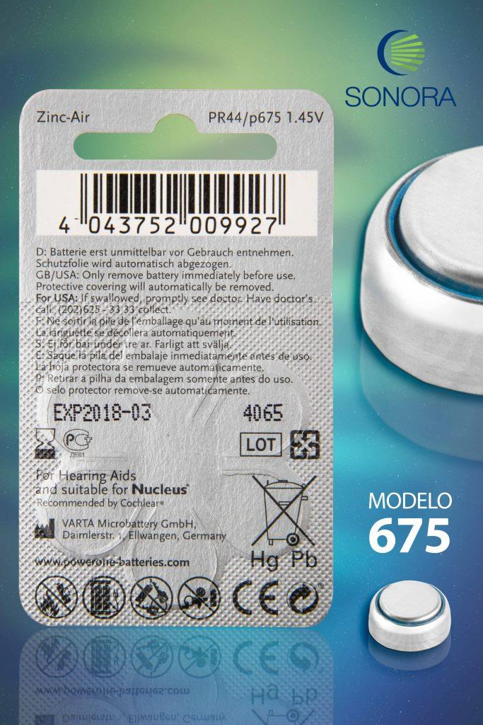 PowerOne P675 (IMPLANT PLUS)  - 10 Cartelas - 60 Baterias para Implante Coclear - SONORA