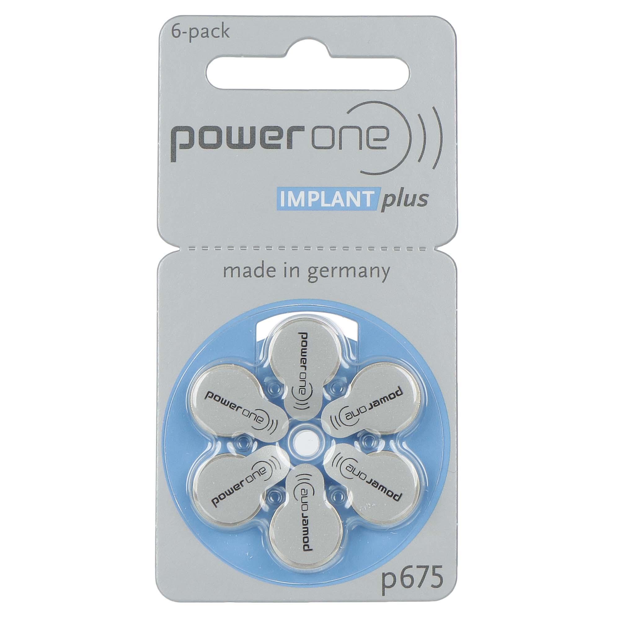 PowerOne P675 (IMPLANT PLUS)  - 1 Cartela - 6 Baterias para Implante Coclear  - SONORA