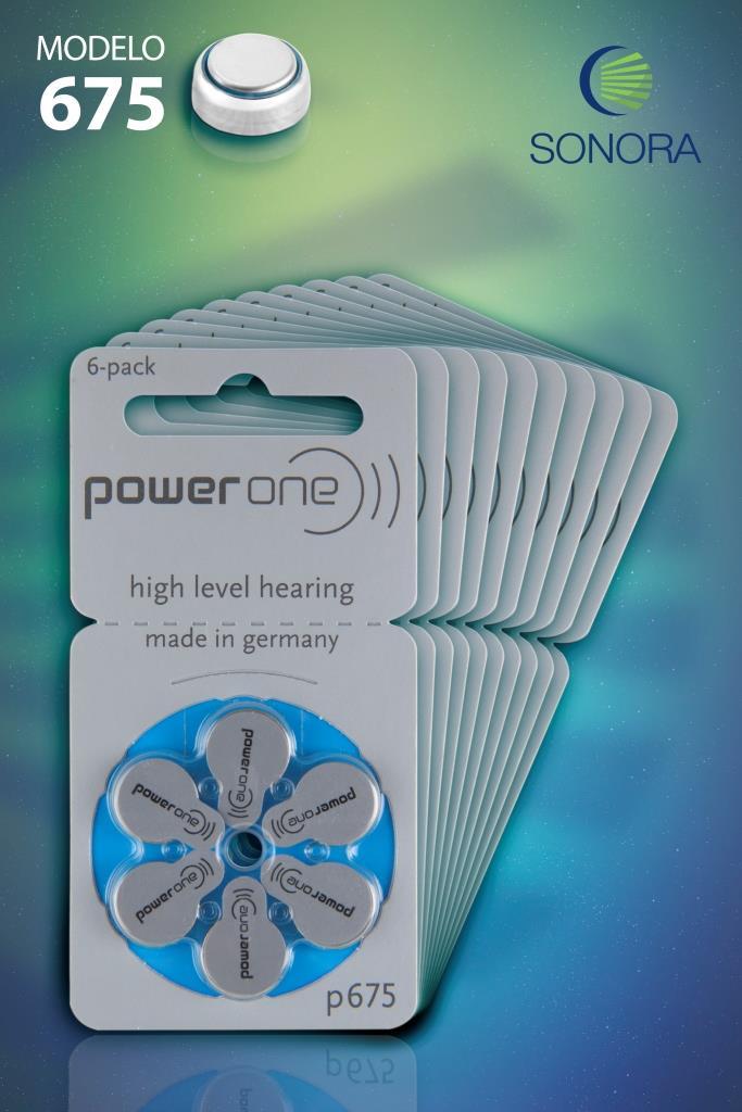 PowerOne P675 / PR44  - 10 Cartelas - 60 Baterias para Aparelho Auditivo  - SONORA