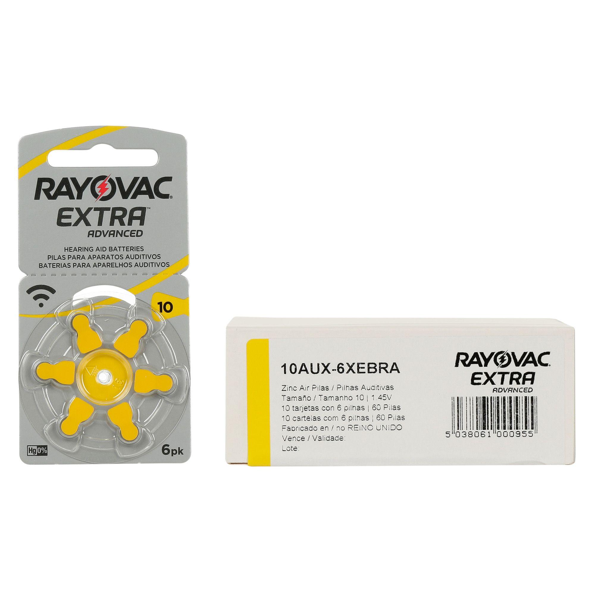 Rayovac 10 / PR70 - 10 Cartelas - 60 Baterias para Aparelho Auditivo  - SONORA