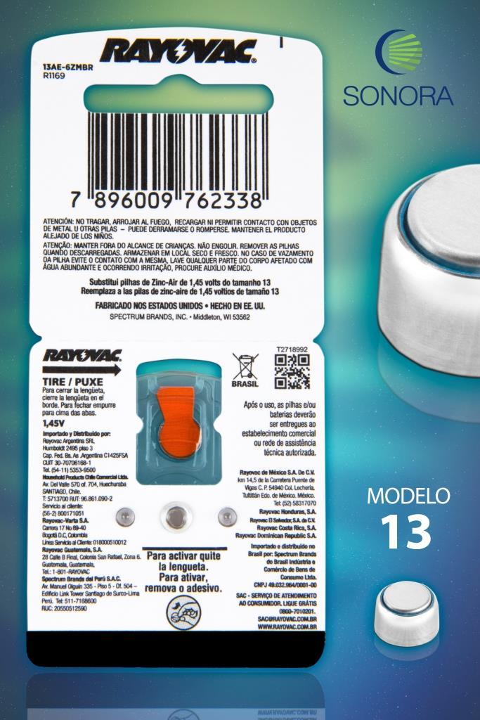 Rayovac 13 / PR48 - 10 Cartelas - 60 Baterias para Aparelho Auditivo  - SONORA
