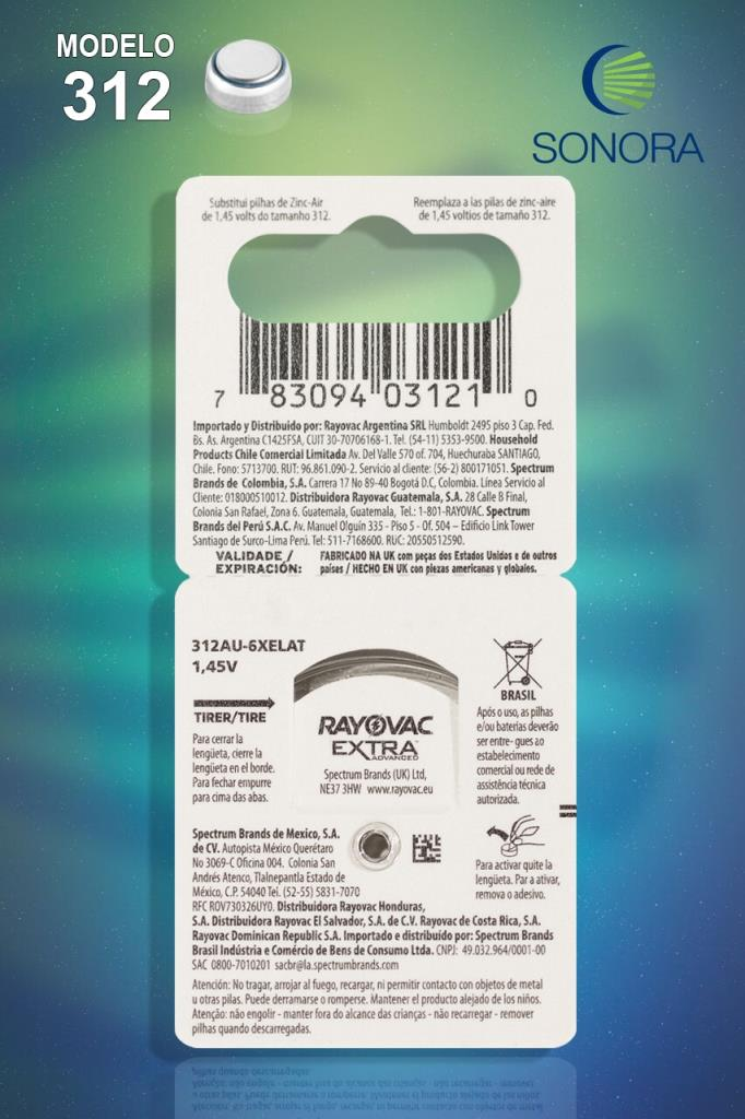 Rayovac 312 / PR41 - 10 Cartelas - 60 Baterias para Aparelho Auditivo  - SONORA