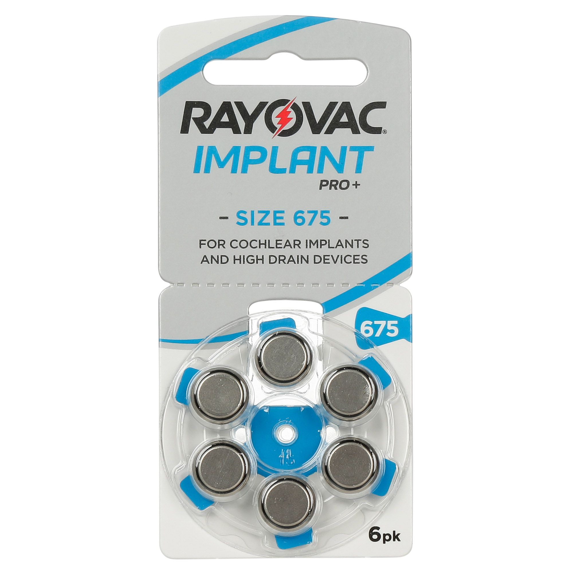 RAYOVAC 675 IMPLANT PRO - 10 cartelas - 60 Baterias Aparelho Auditivo  - SONORA