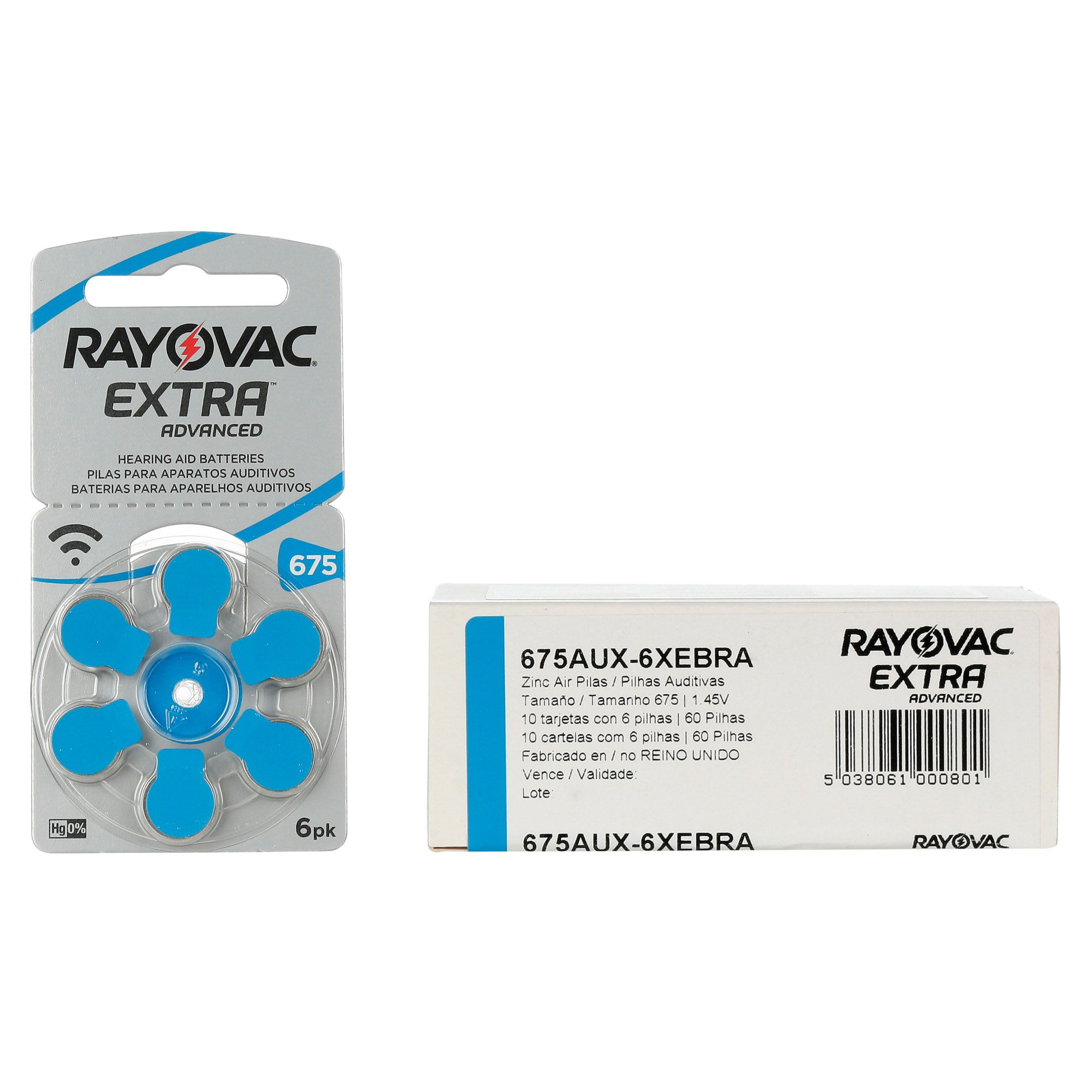 Rayovac 675 / PR44 - 10 Cartelas - 60 Baterias para Aparelho Auditivo