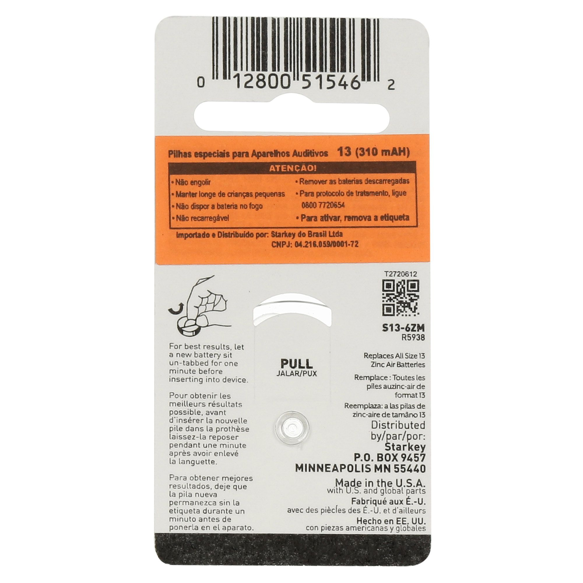 Starkey S13 / PR48 - 10 Cartelas - 60 Baterias para Aparelho Auditivo  - SONORA
