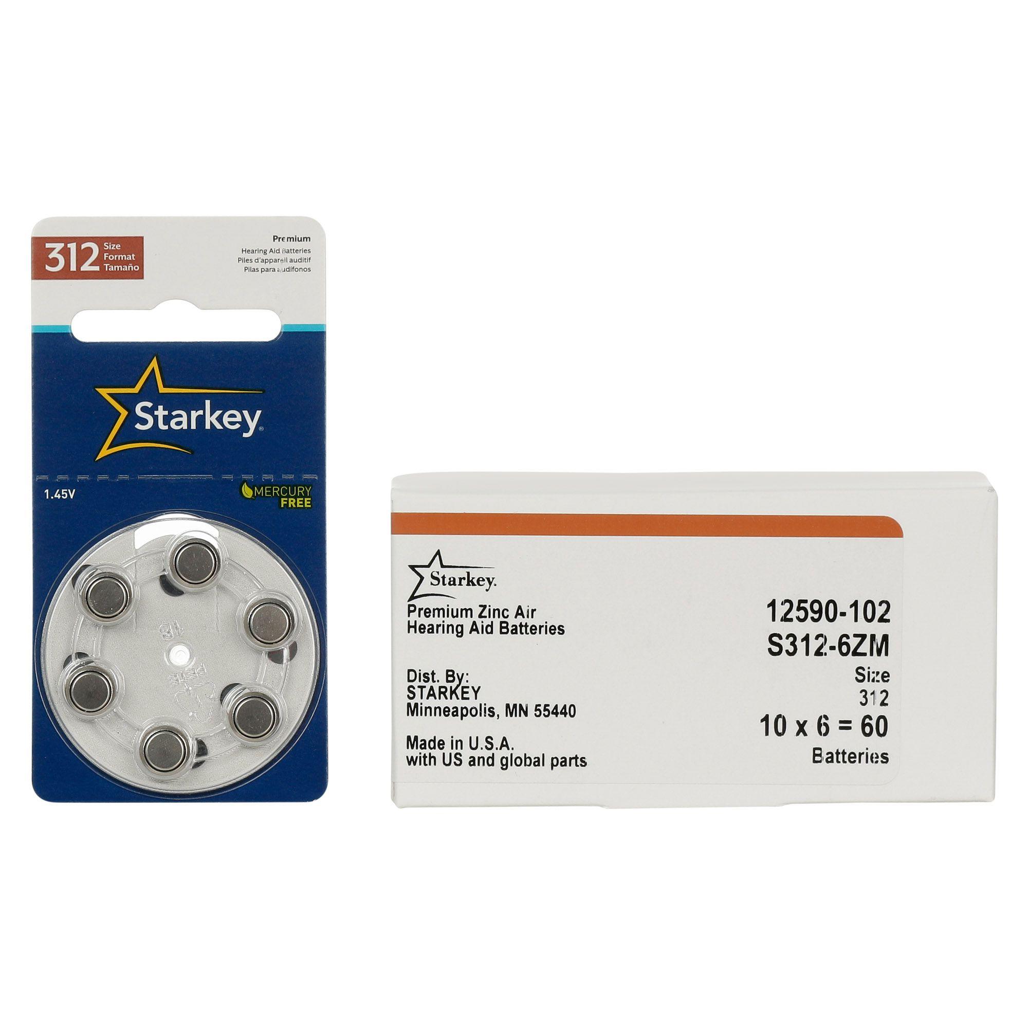 Starkey S312 / PR41 - 10 Cartelas - 60 Baterias para Aparelho Auditivo