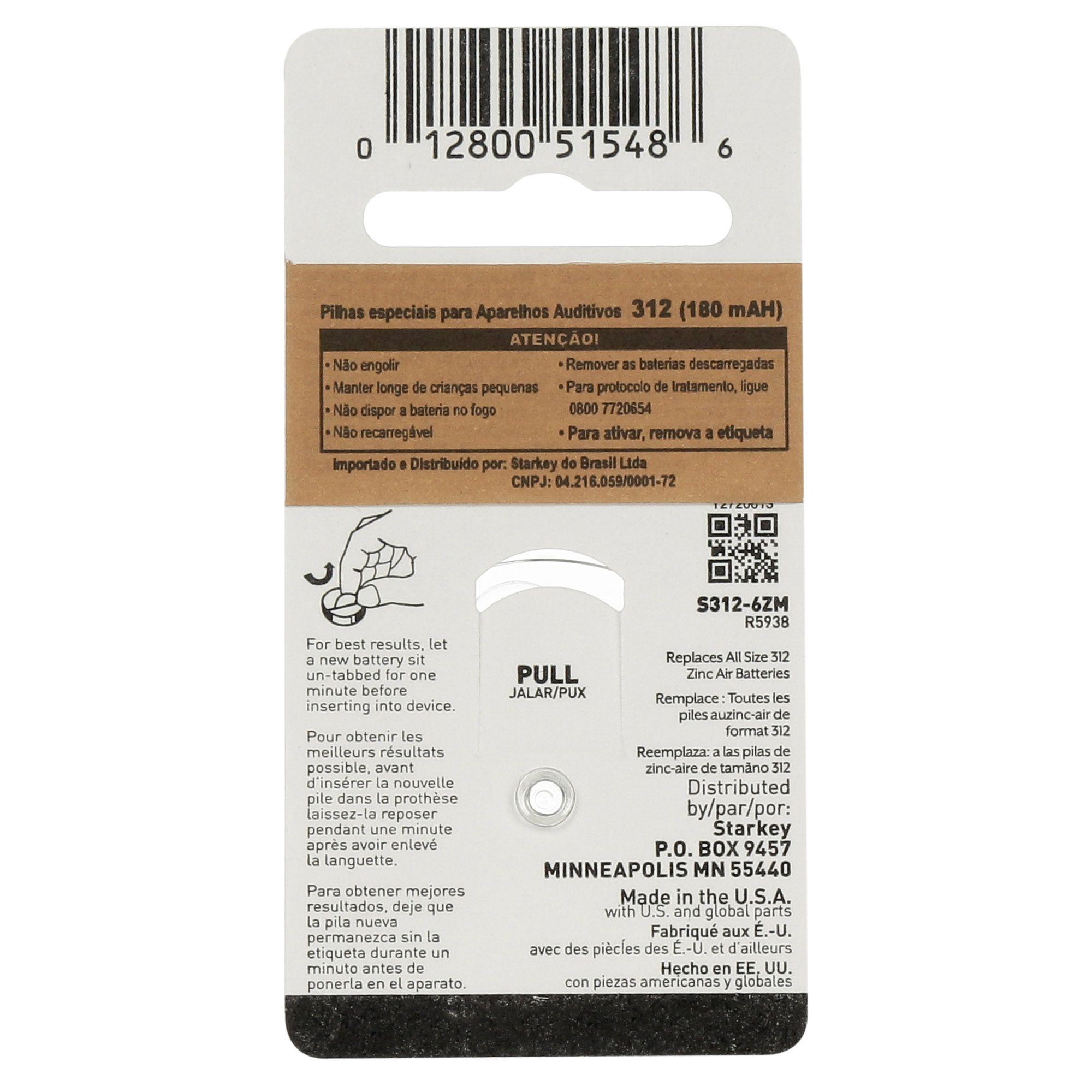 Starkey S312 / PR41 - 10 Cartelas - 60 Baterias para Aparelho Auditivo  - SONORA