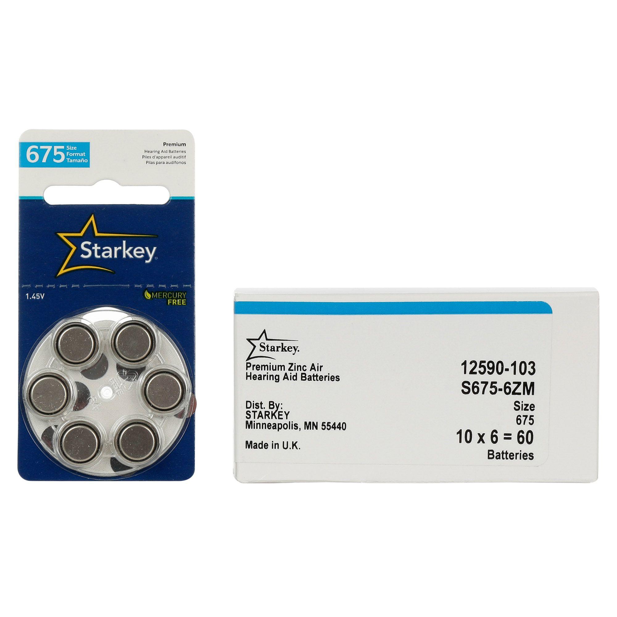 Starkey S675 / PR44 - 10 Cartelas - 60 Baterias para Aparelho Auditivo