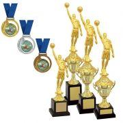 Kit de Troféus Gold Campeão de Basquete KCP1100 Vitória