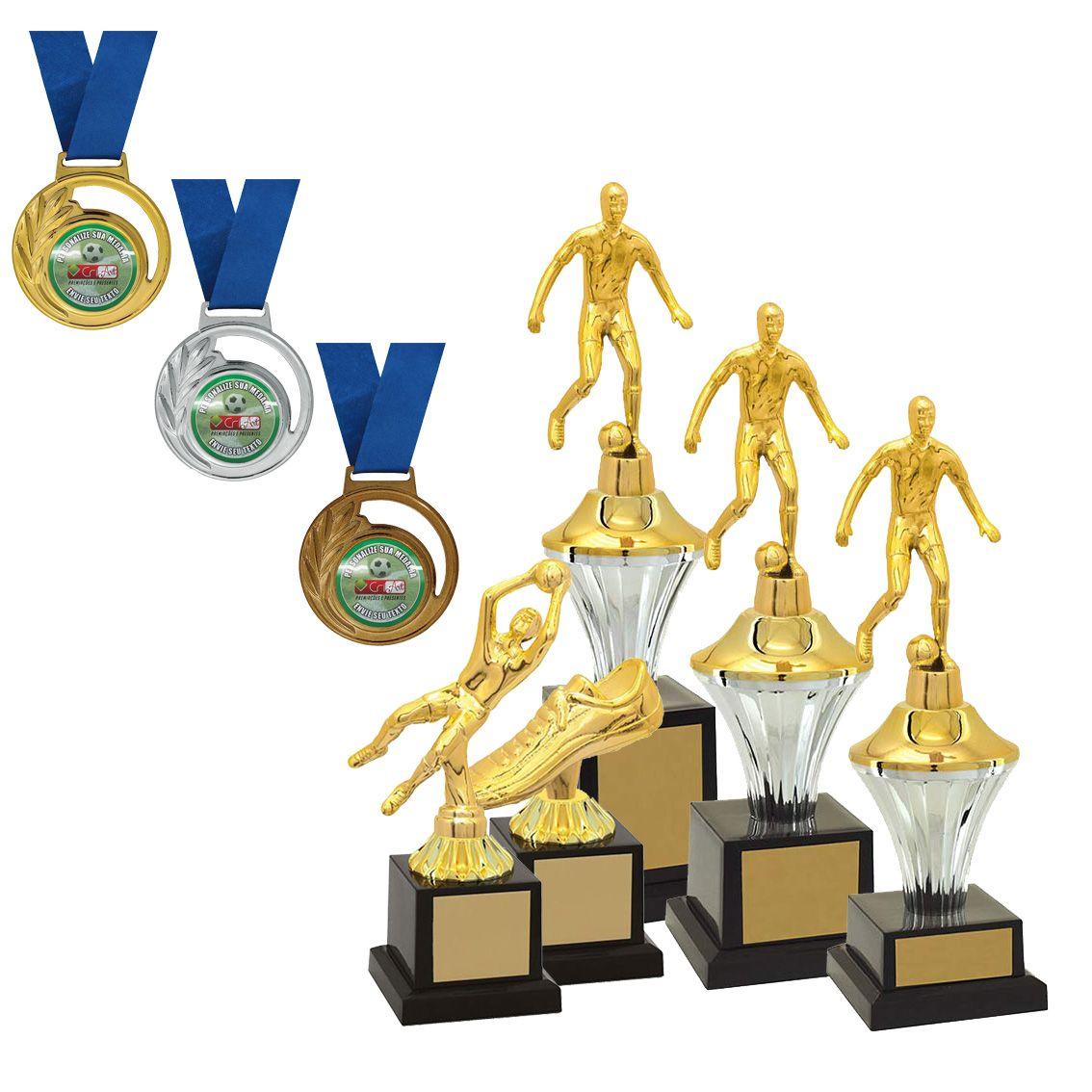 Kit de Troféus Silver Campeão de Futebol KCP100 Vitória