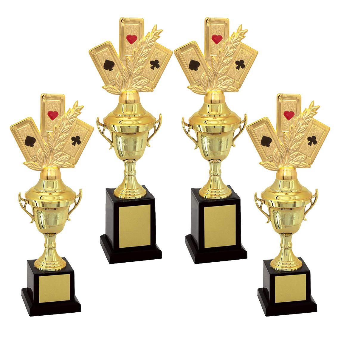 Kit de Troféus Gold Campeão de Baralho KCP1400 Vitória