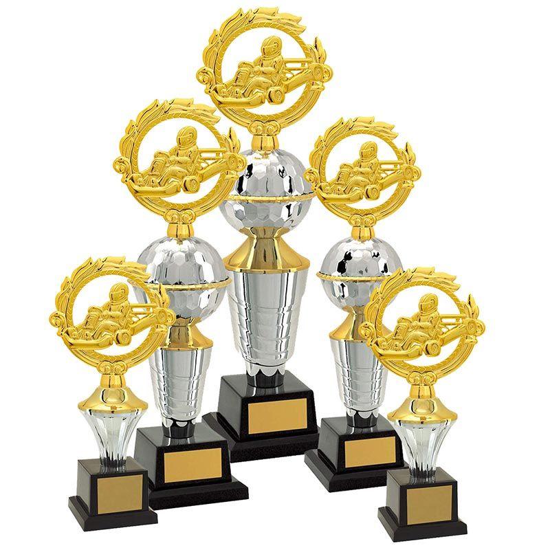 Kit de Troféus Platinum Campeão de Kart KCP2700 Vitória