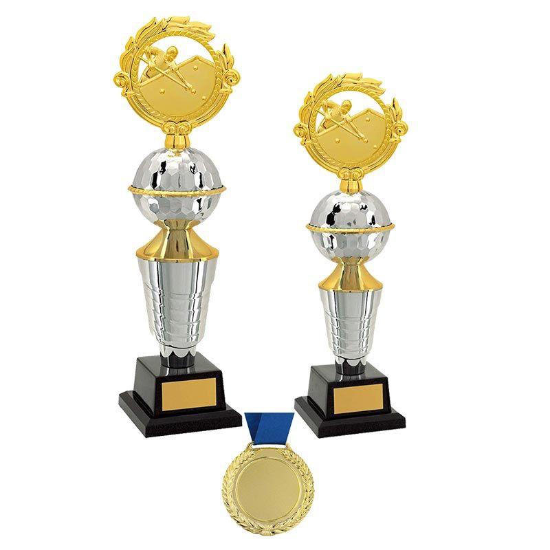 Kit de Troféus Platinum Campeão de Sinuca Individual KCP2600 Vitória