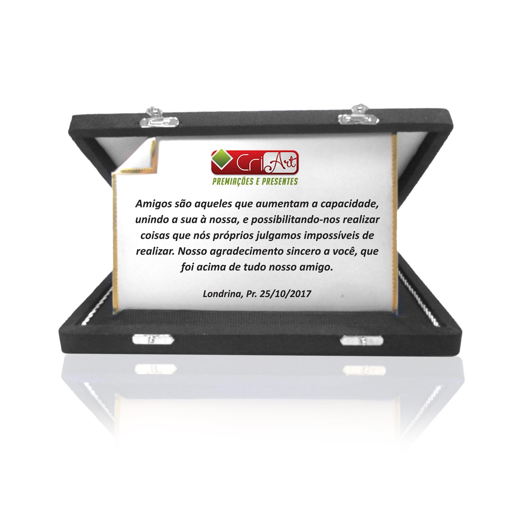Placa de Homenagem Dourada Dobrada com Estojo - PLC109