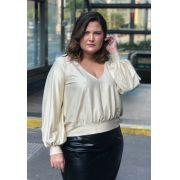 Blusa Plus Size Luxury Deep Dourada