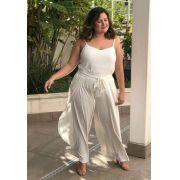 Calça plus size transpasse pantalona off white