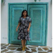Vestido curto bolinhas 2 fivelas plus size