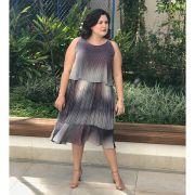 Vestido plus size saia plissada estampado