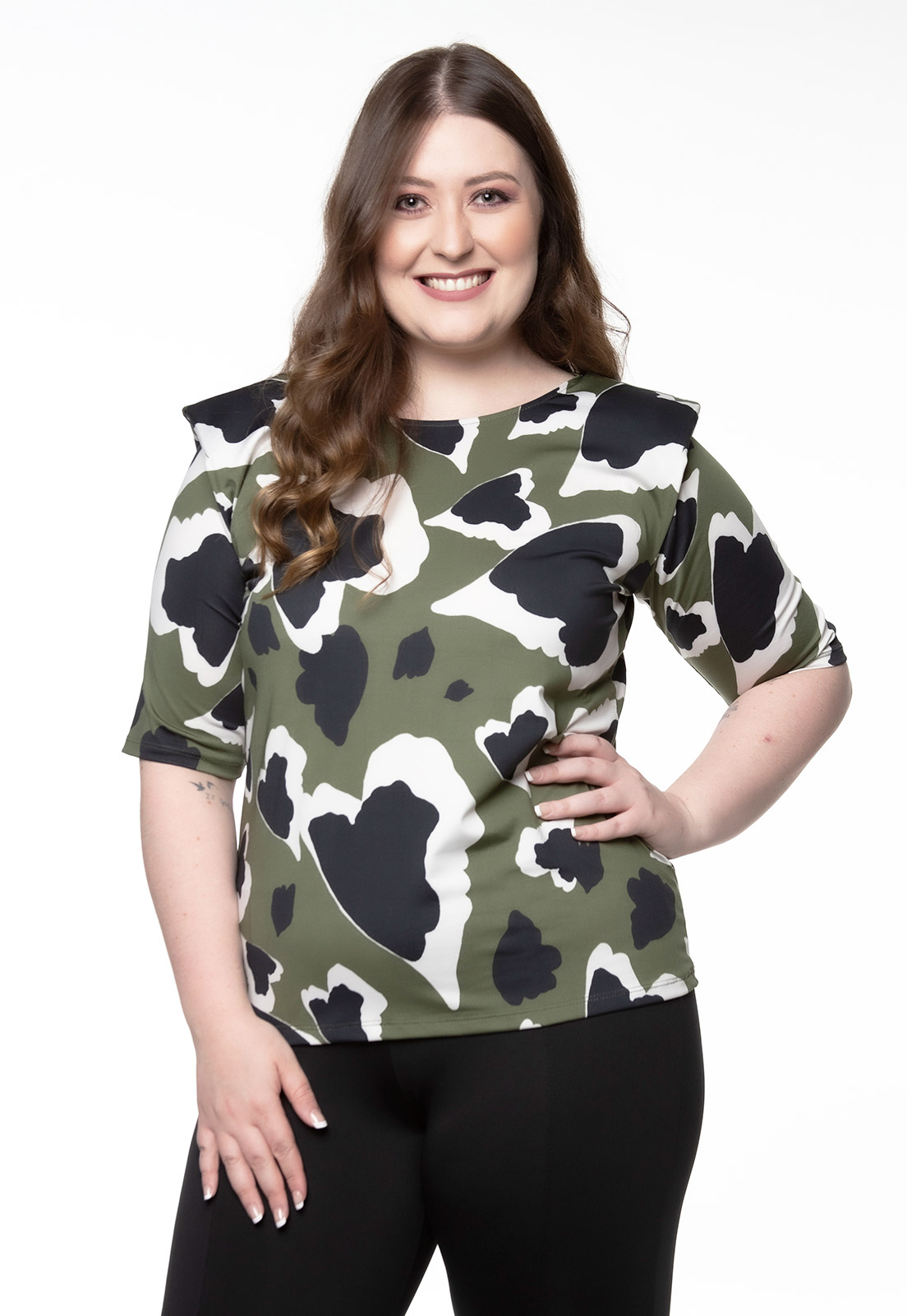 Blusa Animal Print ombro estruturados verde