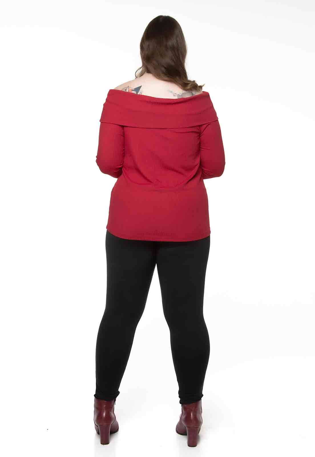 Blusa canelada ombro a ombro vermelha