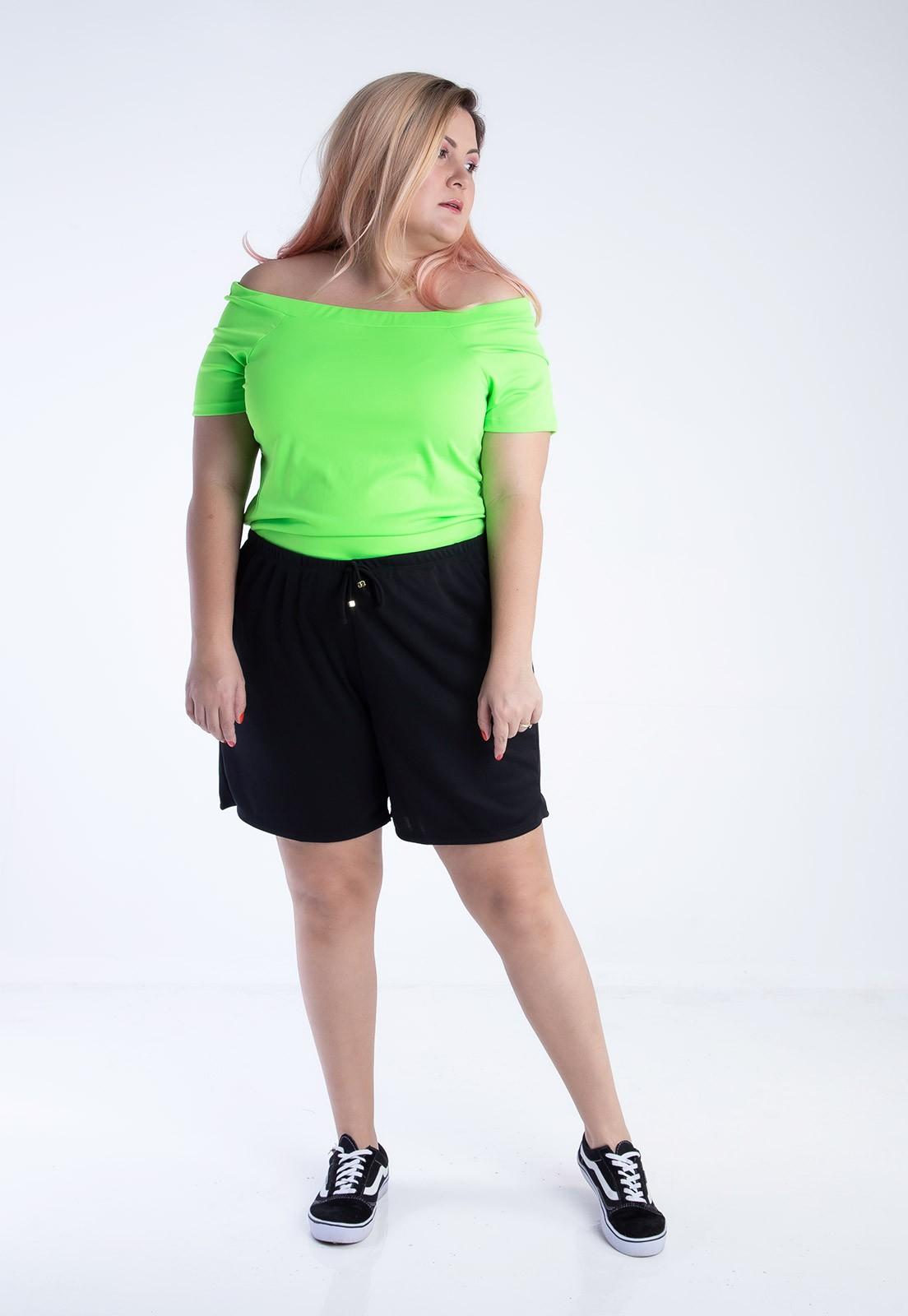 Blusa ciganinha plus size verde neon