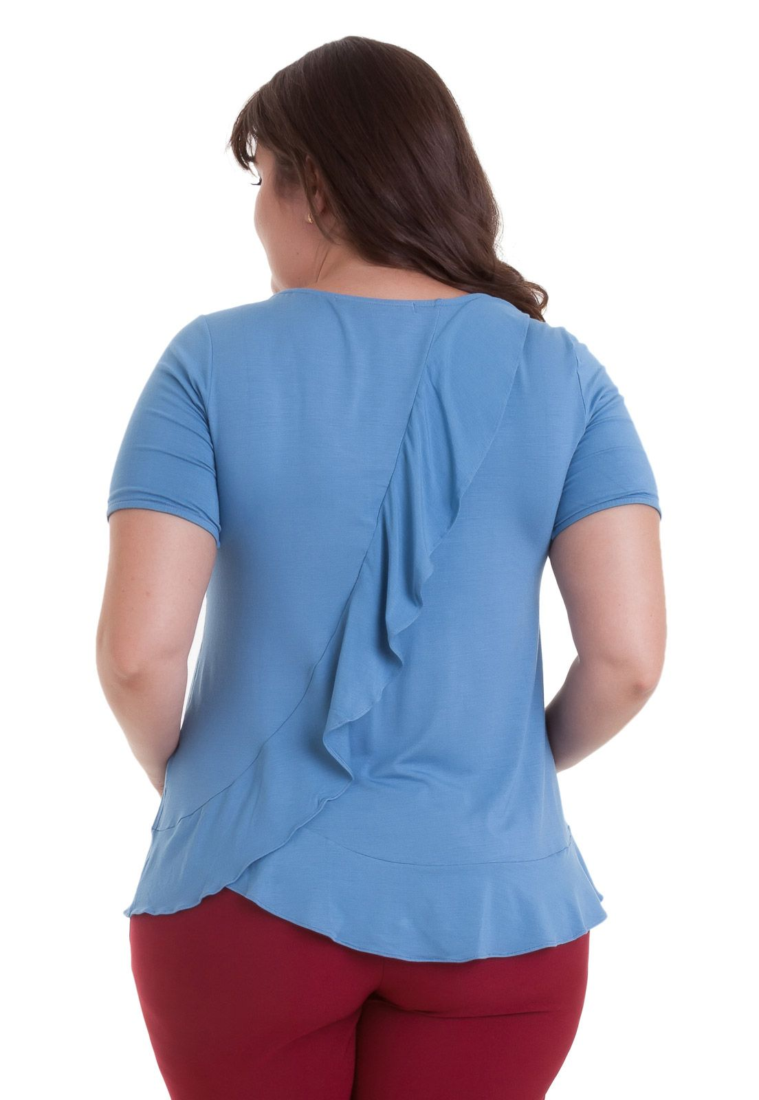 Blusa plus size Cotton Colors babado na barra e costas