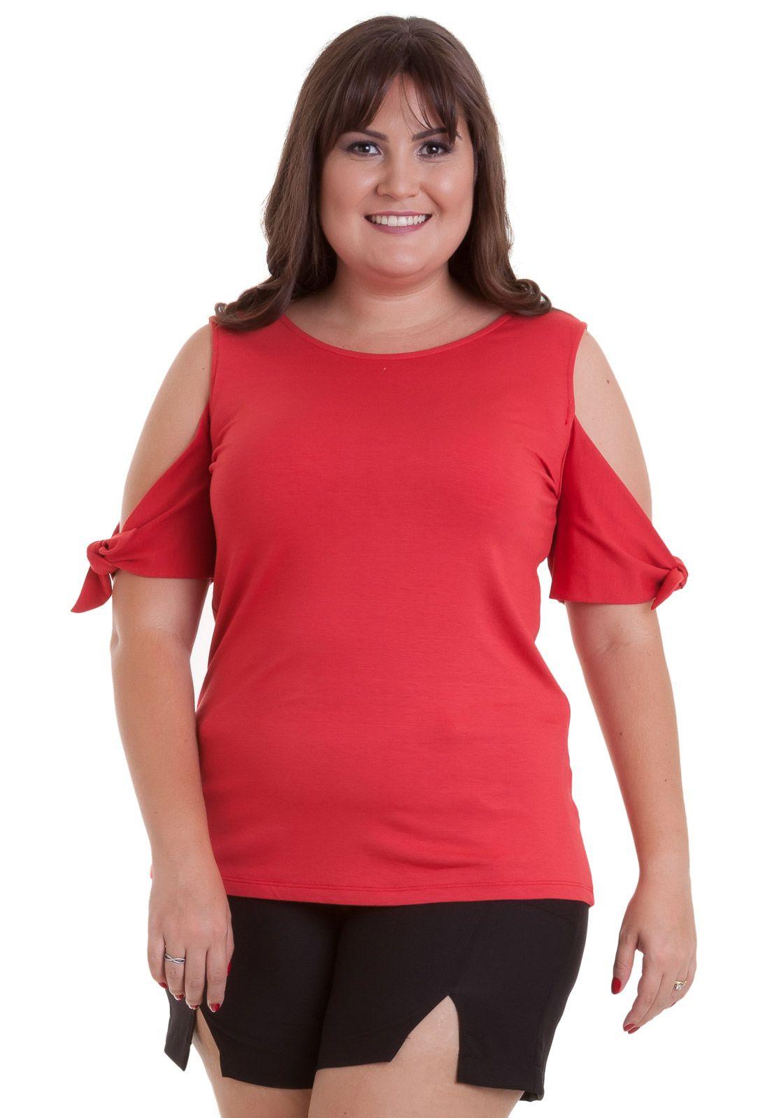 Blusa plus size Cotton Colors recorte nos ombros e amarração