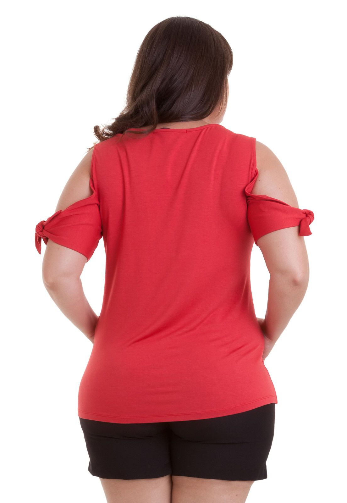 Blusa Cotton Colors recorte nos ombros e amarração