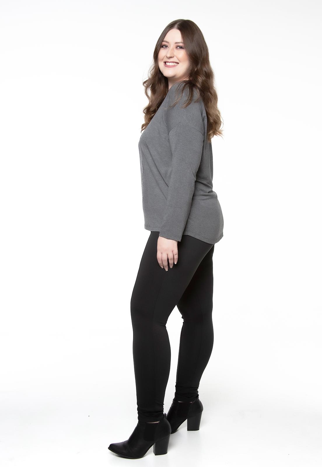 Blusa mullet manga longa caveira cinza