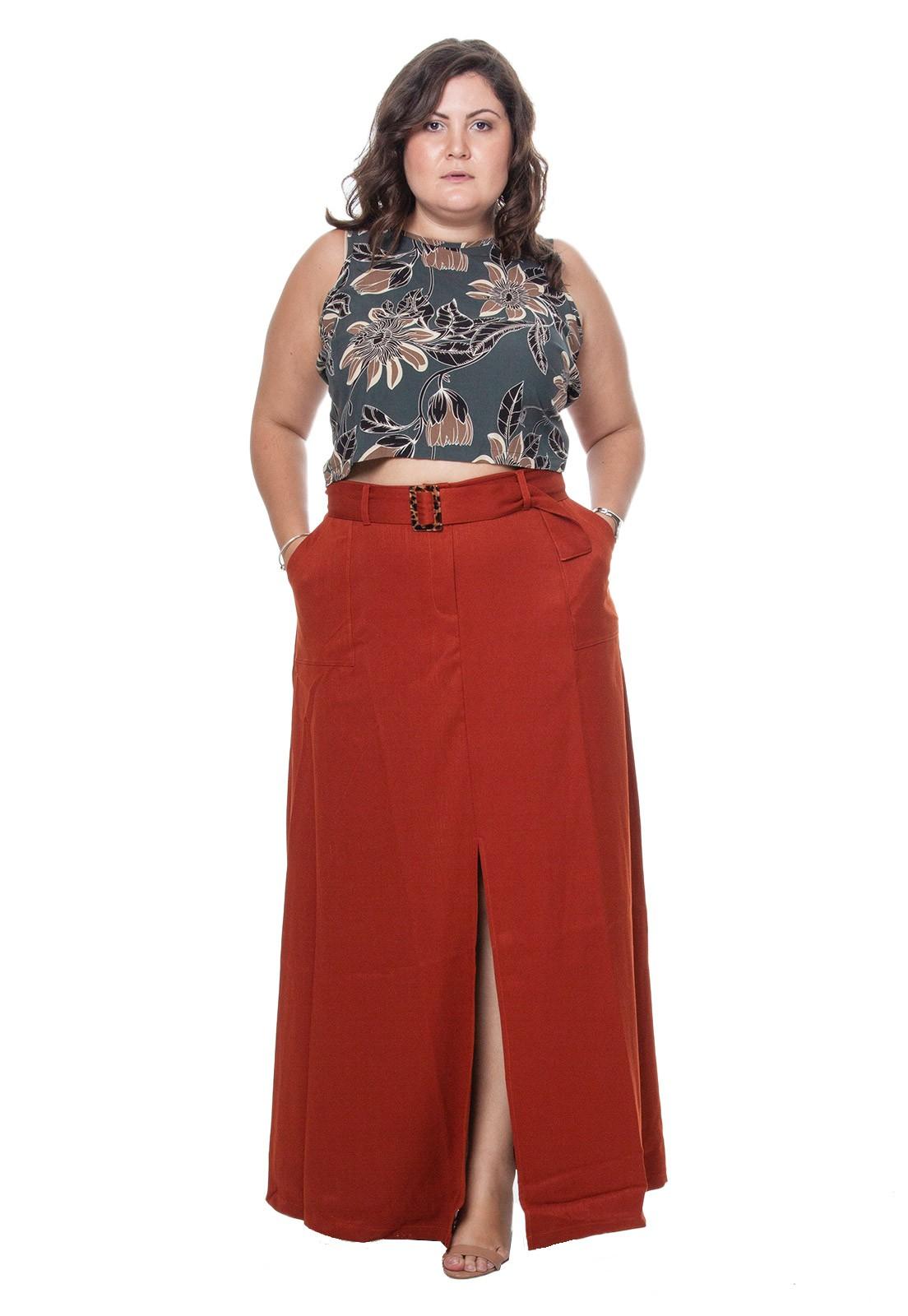 Blusa plus size cropped amarração 2 lados